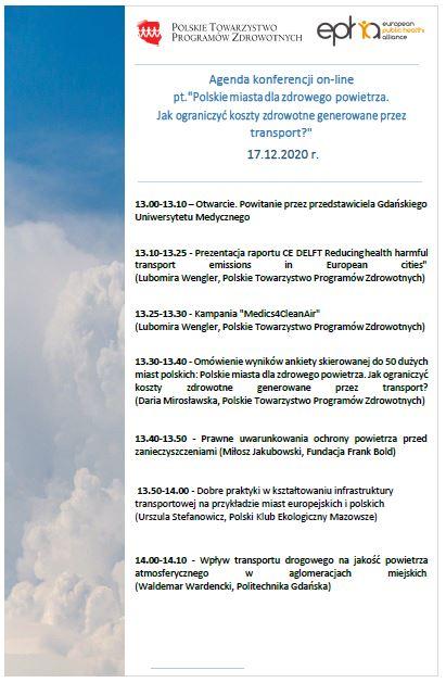 Agenda Konferencji Polskie miasta dla zdrowego powietrza. Jak ograniczyć koszty zdrowotne generowane przez transport 01